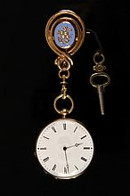 PENDANT WATCH - 18K Yellow Gold Lady's Pendant Watch with blue enamel, set with (14) seed pearls containing an A. Geneve key wind key