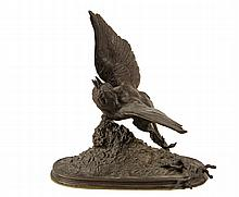 FERDINAND PAUTROT (France, 1832-1874) - Sparrow Taking Flight from Branch, bronze, signed on integral base. 7 3/4