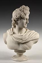 MARBLE SCULPTURE - A Grand Tour Era Copy of the Apollo Belvedere Bust, from the Roman copy of the circa 350 BC original by the Greek sc