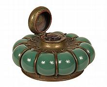 TIFFANY STUDIOS INKWELL - Rare American Art Nouveau 'Blown Out' Green Glass and Bronze Pumpkin Form Single Bottle Inkwell, circa 1900