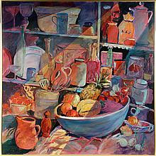 DAISY GREENE (Contemporary Maine) - Still Life in Pantry, oil on board, signed lower right