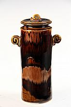 BROTHER THOMAS ART POTTERY - Covered Jar by Brother Thomas Bezanson (1929-2007), Benedictine Monk of the Weston, VT Priory: Tall Cylind