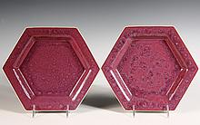 BROTHER THOMAS ART POTTERY - Pair of Plates by Brother Thomas Bezanson (1929-2007), Benedictine Monk of the Weston, VT Priory: Hexagona