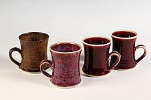 - BROTHER THOMAS ART POTTERY - (4) Mugs by Brother Thomas Bezanson (1929-2007), Benedictine Monk of the Weston, VT Priory: Various styl