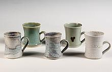 - BROTHER THOMAS ART POTTERY - (5) Mugs by Brother Thomas Bezanson (1929-2007), Benedictine Monk of the Weston, VT Priory: Various styl