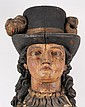 SHIP'S FIGUREHEAD - 19th c. Bawdy Figure Head of Woman with exposed breasts above bodice, wearing tophat with feather plumes, long bla