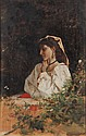 OIL ON PANEL - Beauty Watching Moths by Amos Cassioli (Italy, 1832-1890), signed lower left, depicting young lady, in the original gold