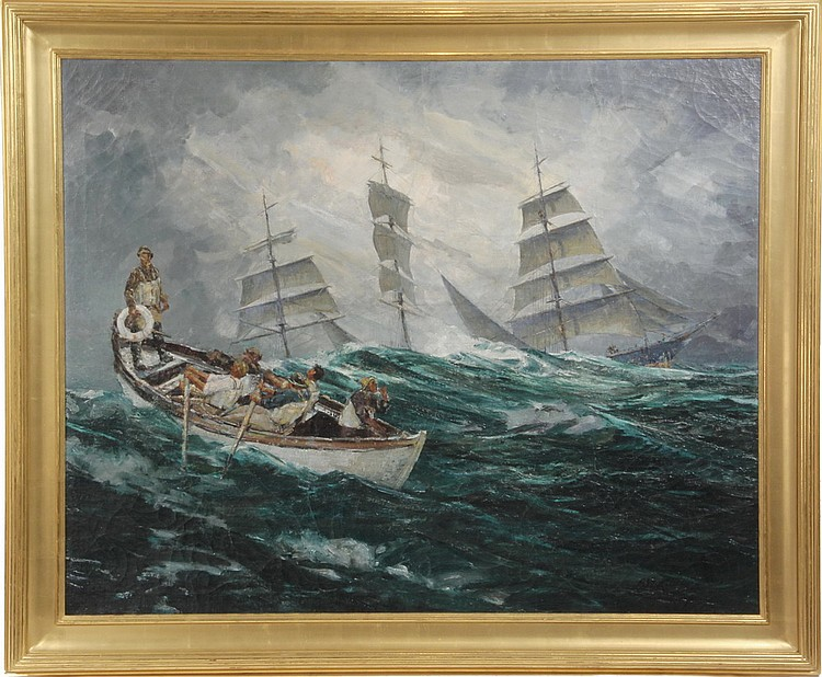 MONUMENTAL OOC - 'Man Overboard' by Andrew Winter (NY/ME, 1893-1958), signed lr, Grand Central Art Gallery label verso. Depicts longb