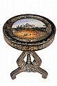 HISTORIC PAPIER MACHE TABLE - Circa 1830 Lacquered Lamp Table with inset eglomise top having view of the United States Capitol Building