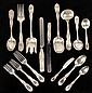 TIFFANY STERLING FLATWARE SET - Chrysanthemum Pattern Service for Twelve, inc Dinner & Luncheon knife, fork, desert fork, soup spoon, b