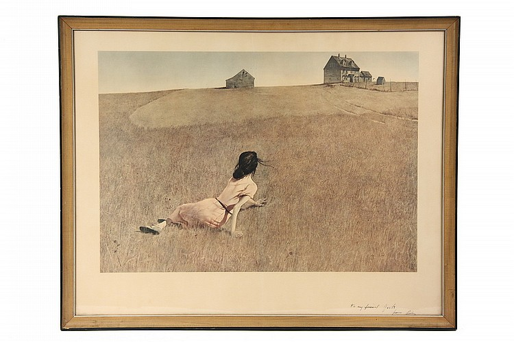SIGNED MUSEUM PRINT - 'Christina's World',  by Andrew Wyeth (PA/ME, 1917-2009), signed lr 'To my friend Jack, from Andy', the Shor