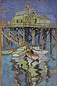 GOUACHE - Unsigned View of New England Pier,by Janet Scott Berry (ME, 1919-), unsigned, paper laid to maso, 19