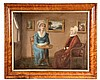 OIL ON CANVAS - American Primitive Portrait of Two Ladies in Sitting Room, both in lace bonnet & collars, one reading at a table, unsig