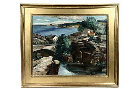 OOC Painting Maine Coast Ann McNulty Brockman c1930s