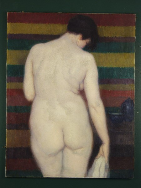 OOC - Nude du Dos with striped towel by Gaston Jarry (Argentina, 1889-1974), unframed, SS: 27 3/4