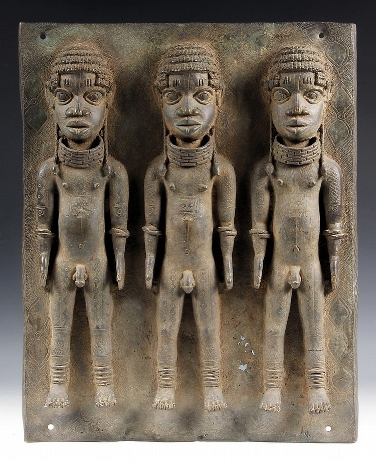 AFRICAN BRONZE PLAQUE - Benin Bronze Ancestral Plaque, 16th- 17th c, depicting three young men, naked other than jewelry and hair ornam