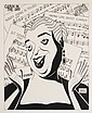 PEN & INK ILLUSTRATION - Caricature by George Wachsteter (1911-2004), of legendary blues singer Ethel Waters, with sheet music from her