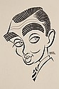 PEN & INK ILLUSTRATION - Caricature by George Wachsteter (1911-2004) of legendary Hollywood actor 'The King' Clark Gable, circa 1940.