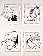 (4) PEN & INK ILLUSTRATIONS - Caricatures by George Wachsteter (1911-2004) for 1948 ad for 'The Virginian' Restaurant at 102 West 50t