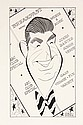 PEN & INK ILLUSTRATION - Caricature by George Wachsteter (1911-2004) of Don McNeill for the 1950-51 ABC-TV series 'TV Club' (aka 'Do