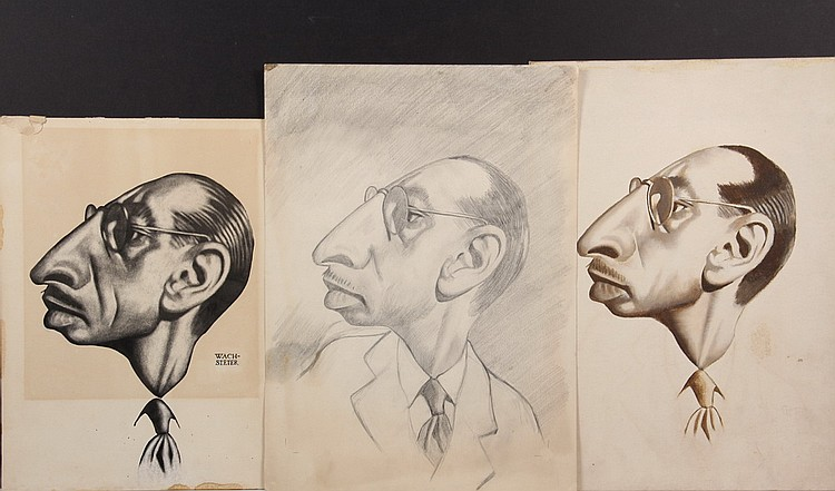 GRAPHITE, W/C & OIL PORTRAITS - Caricatures by George Wachsteter (1911-2004) of Composer & Director Igor Stravinsky, including sketches
