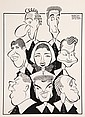 PEN & INK ILLUSTRATION - Caricatures by George Wachsteter (1911-2004) of top radio personalities for ad giant J. Walter Thompson Co's