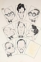 PEN & INK ILLUSTRATION - Caricatures by George Wachsteter (1911-2004) of the Directors of Broadway Plays for the 1950 season, including
