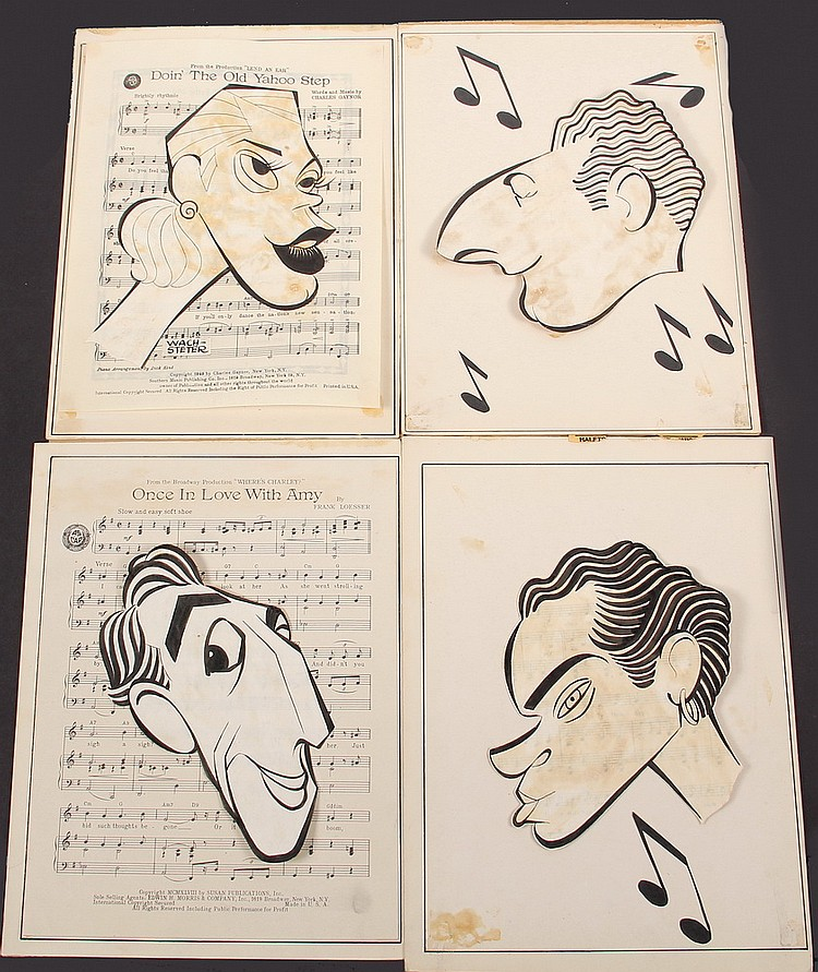GROUP (4) CARICATURES - George Wachsteter (1911-2004) Ink on Paper Laid over Sheet Music Layouts for Stars of Four Long-Running ca 1950