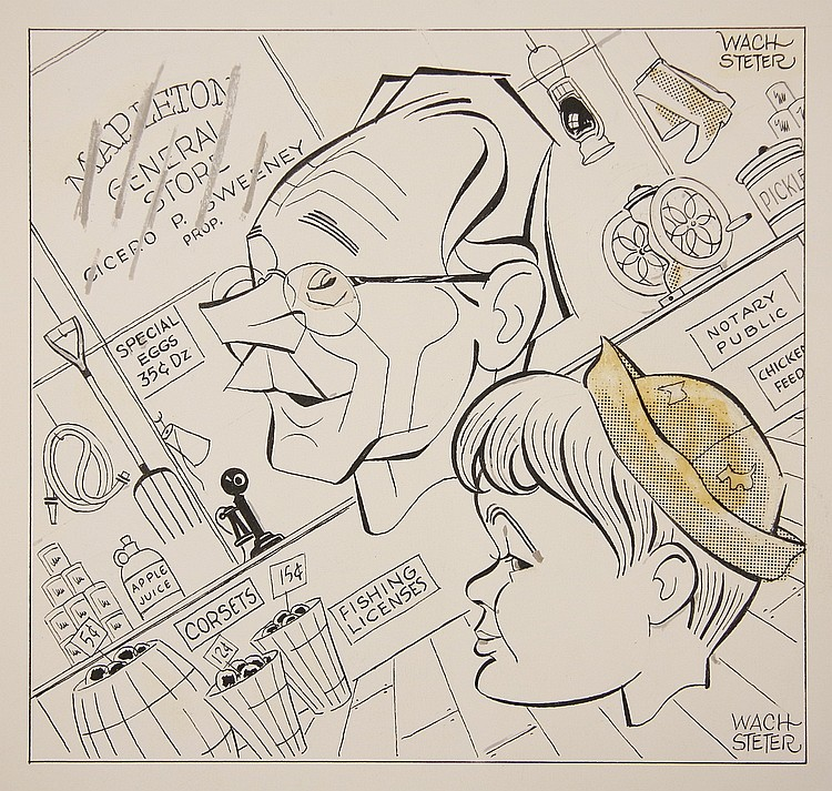 CARICATURE - George Wachsteter (1911-2004) Ink on Illustration Board with overlaid corrections and half-toning, layout for 'World of M