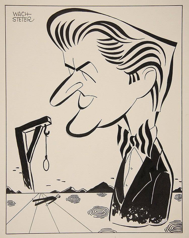 CARICATURE - George Wachsteter (1911-2004) Ink on Illustration Board of Jay Jostin from 'Mr. District Attorney', depicted with victim