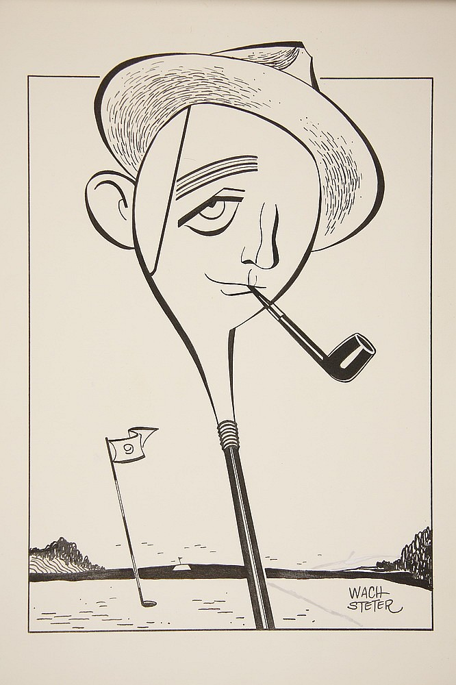 CARICATURE - George Wachsteter (1911-2004) Ink on Illustration Board of Bing Crosby as a Golf Club, a promo for TV broadcast of the Peb
