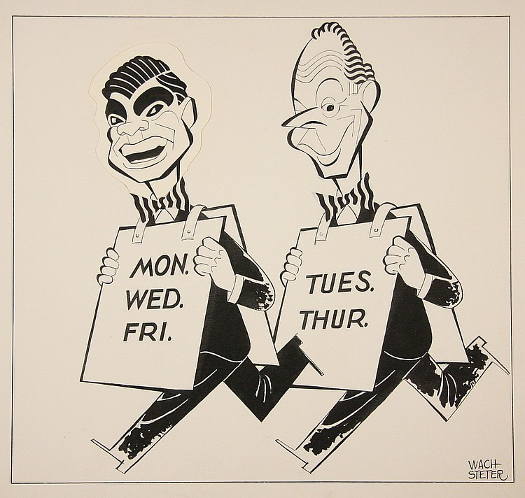 CARICATURE - George Wachsteter (1911-2004) Ink on Illustration Board Caricatures of Bert Parks & Dan Seymour, hosts of TV programs 'Do
