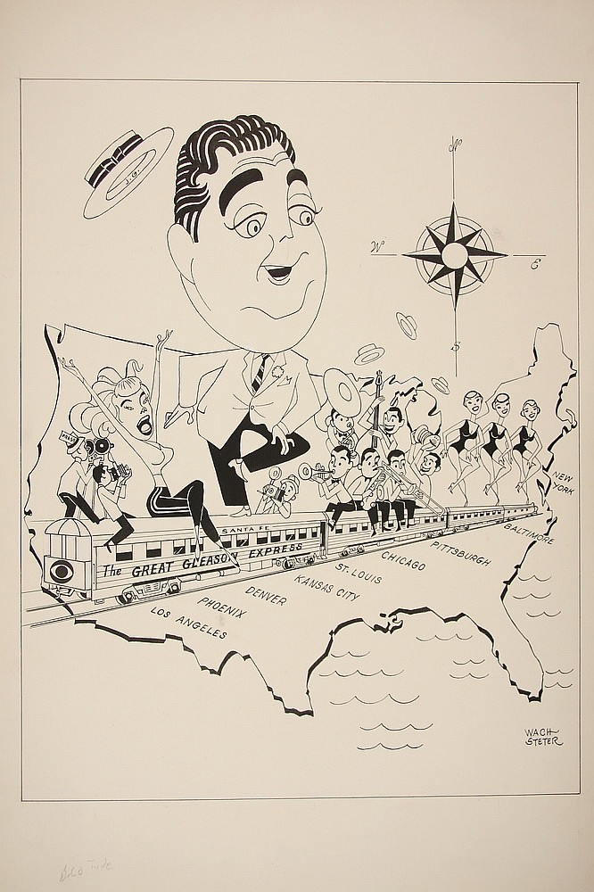 CARICATURE - George Wachsteter (1911-2004) Ink on Illustration Board Caricature Promo for 'The Great Gleason Express', promoting debu