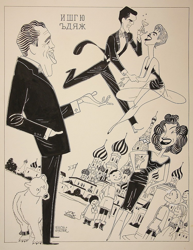 CARICATURE - George Wachsteter (1911-2004) Ink on Illustration Board Caricature of the Ed Sullivan Show from the Moscow, Russia tour br