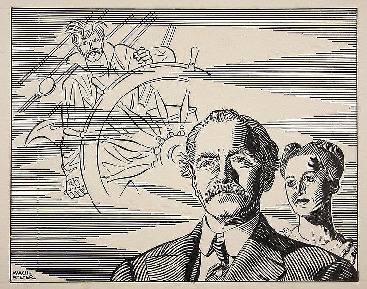 CARICATURE - George Wachsteter (1911-2004) Ink on Cardstock Layout for Newspaper Illustration: Broadway Production of 'Years Ago' by