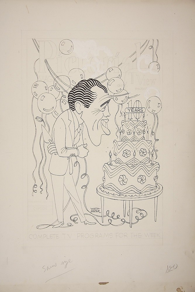 CARICATURE - George Wachsteter (1911-2004) Ink and Pencil on Illustration Board Caricature of Ed Sullivan for the 10th Anniversary of h