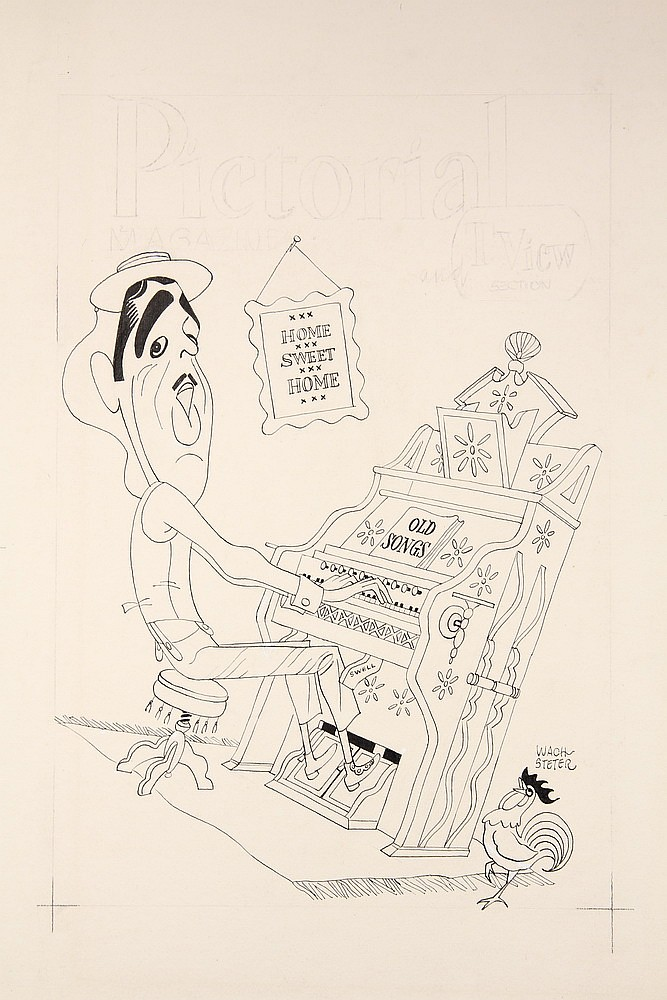 CARICATURE - George Wachsteter (1911-2004) Ink on Illustration Board Caricature Portrait of Ernie Ford at a Pump Organ, for his TV show