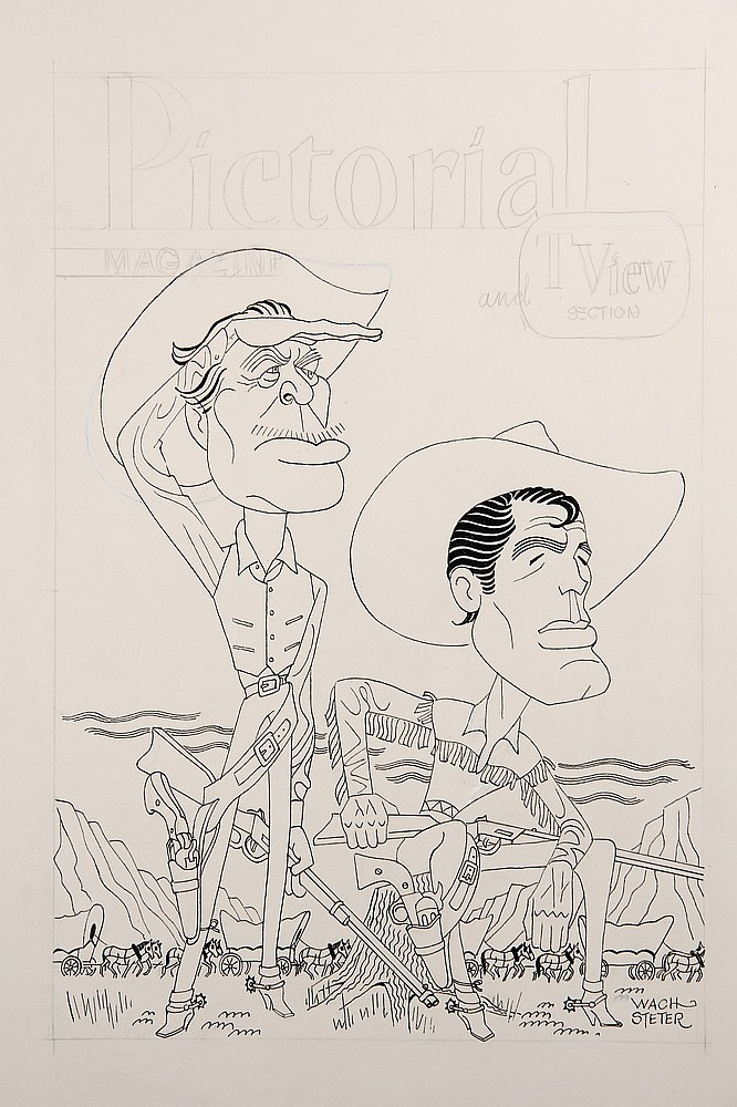 CARICATURE - George Wachsteter (1911-2004) Ink on Illustration Board Caricature Portrait of Ward Bond and Robert Horton in 'Wagon Trai