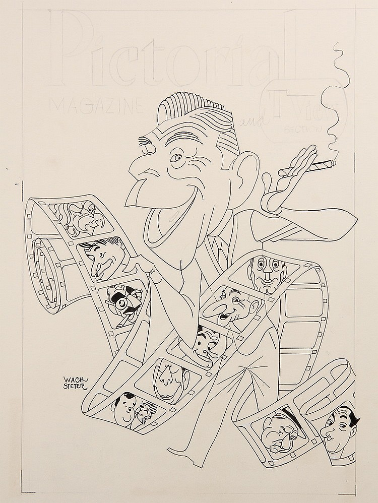 CARICATURE - George Wachsteter (1911-2004) India ink on board layout with full color overlay of George Burns holding film strip with po