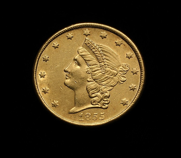 COIN - 1855 Kellogg & Co. $20.00 Gold. PCGS AU 58+. Condition census.