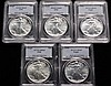 (5) COINS - (5) Pieces 1990 American Silver Eagles 1-oz. ea., all pieces MS-69