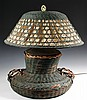 LARGE WICKER TABLE LAMP - Arts & Crafts Period Wicker & Rattan Lamp with Shade in squatty vase form with two handles, with remnants of