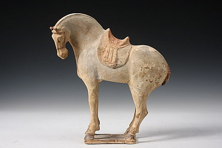 Chinese Tang Dynasty Pottery Horse w/ Saddle