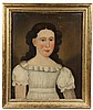 - PRIOR-HAMBLIN SCHOOL - Portrait of a Young Girl in a white cotton dress, circa 1830, oil on panel, in lemon gold molded frame. OS: 23