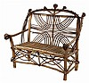 ADIRONDACK SETTEE - Natural Root & Bent Twig Settee for Two, with ornate back and skirt, split branch seat, root ball back and arm fini