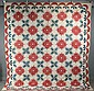 EARLY APPLIQUE QUILT - Rose And Swag Cotton Summer Quilt with red and green decoration on white, scallop edged, some blossoms are initi