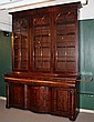 MONUMENTAL GEORGE IV BOOKCASE - Two Part Three Door Gothic Style Bookcase in mahogany veneer, with eight light doors, four shelves per