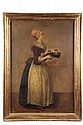 OIL ON CANVAS - The Chocolate Maiden, attributed to Jean-Etienne Liotard (Switzerland, 1702-1789), unsigned, in vintage water gilt mold