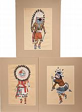 (3) NATIVE AMERICAN PAINTINGS - Hopi Kachina Dancers in gouache on faux vellum cardstock, circa 1950s, matted, unframed. SS: 15