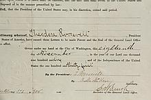 TEDDY ROOSEVELT LAND GRANT TO NATIVE AMERICAN WOMAN - Oct 20, 1906 Grant for 360 acres in South Dakota to Lakota Princess Sophia American Horse, with secretarial signature for Roosevelt by secretary F